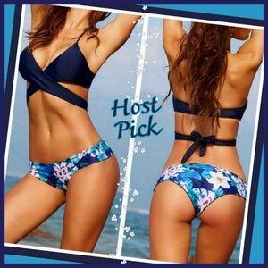 Crisscross Style Navy Blue Top Floral swim Bottom
